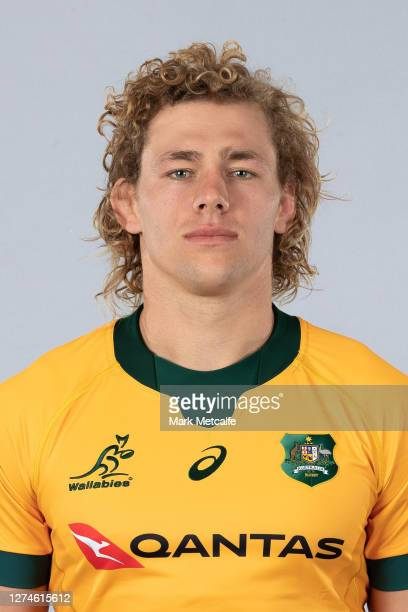 Ned Hanigan poses during the Australian Wallabies rugby team headshots session at the Crowne Plaza on September 21 2020 in the Hunter Valley Australia