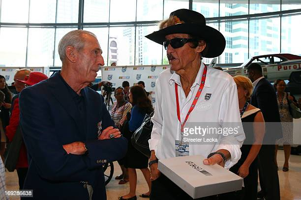 Ned Jarrett and Richard Petty speak after the NASCAR Hall of Fame Voting at NASCAR Hall of Fame on May 22 2013 in Charlotte North Carolina