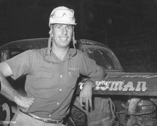 Ned Jarrett at Greensboro Fairgrounds with one of the cars he used to finish second in the NASCAR Sportsman division points He would go on to win the...
