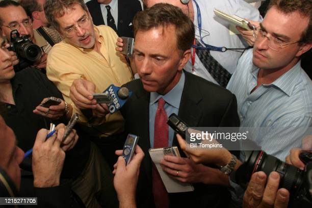 Ned Lamont at a press conference in New Haven Connecticut after being declared the winner of the Democratic Senate race against incumbent Joe...