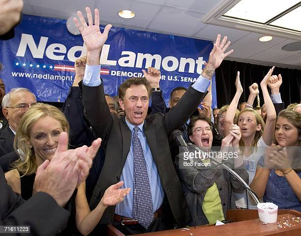 Ned Lamont celebrates with supporters and family after winning the Democratic US Senate primary August 8 2006 in Meriden Connecticut Lamont a...