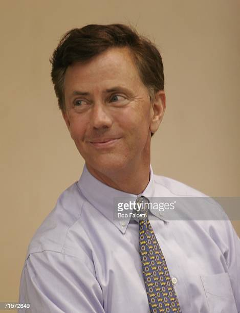 Ned Lamont the Greenwich Connecticut businessman challenging US Sen Joe Lieberman for the Democratic nomination for senator attends a campaign rally...
