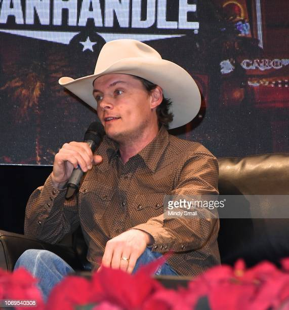 Ned LeDoux speaks onstage during the Outside the Barrel with Flint Rasmussen show during the National Finals Rodeo's Cowboy Christmas at the Las...