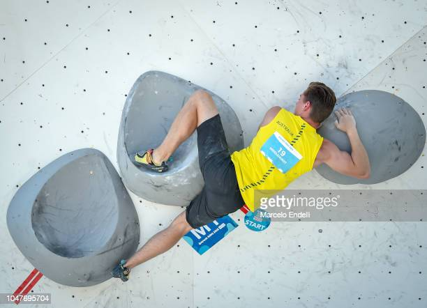 Ned MIddlehurst of Australia competes during the Mens Combined, Bouldering Qualification as part of Buenos Aires Youth Olympics: Day 2 at Urban Park...