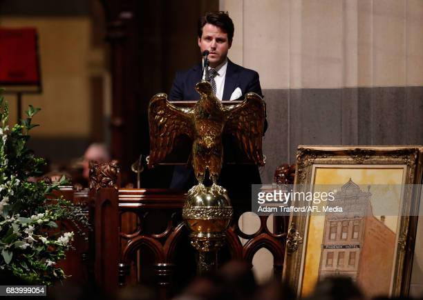 Ned Morrison Grandson of Lou Richards addresses the crowd during the former Collingwood legend Lou Richards state funeral at St Paul's Cathedral on...