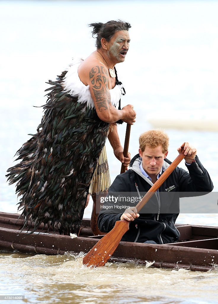 Ned Tapa and Prince Harry paddle a waka down the Whanganui River after a visit to Putiki Marae on May 14, 2015 in Wanganui, New Zealand. Prince Harry is in New Zealand from May 9 through to May 16 attending events in Wellington, Invercargill, Stewart Island, Christchurch, Linton, Whanganui and Auckland.
