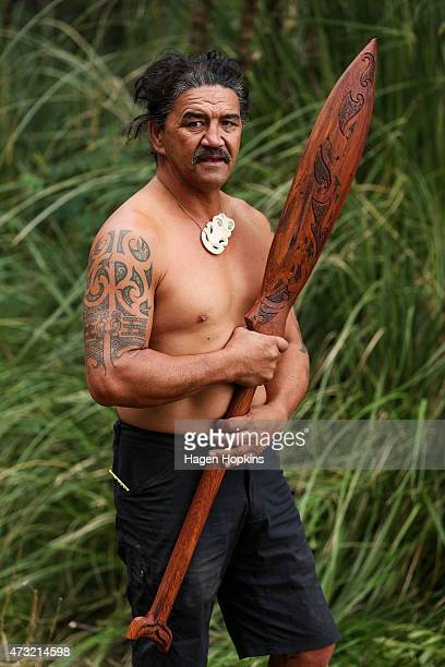 Ned Tapa poses with the carved Maori paddle he created for Prince Harry at Putiki Marae on May 14 2015 in Wanganui New Zealand Prince Harry is in New...