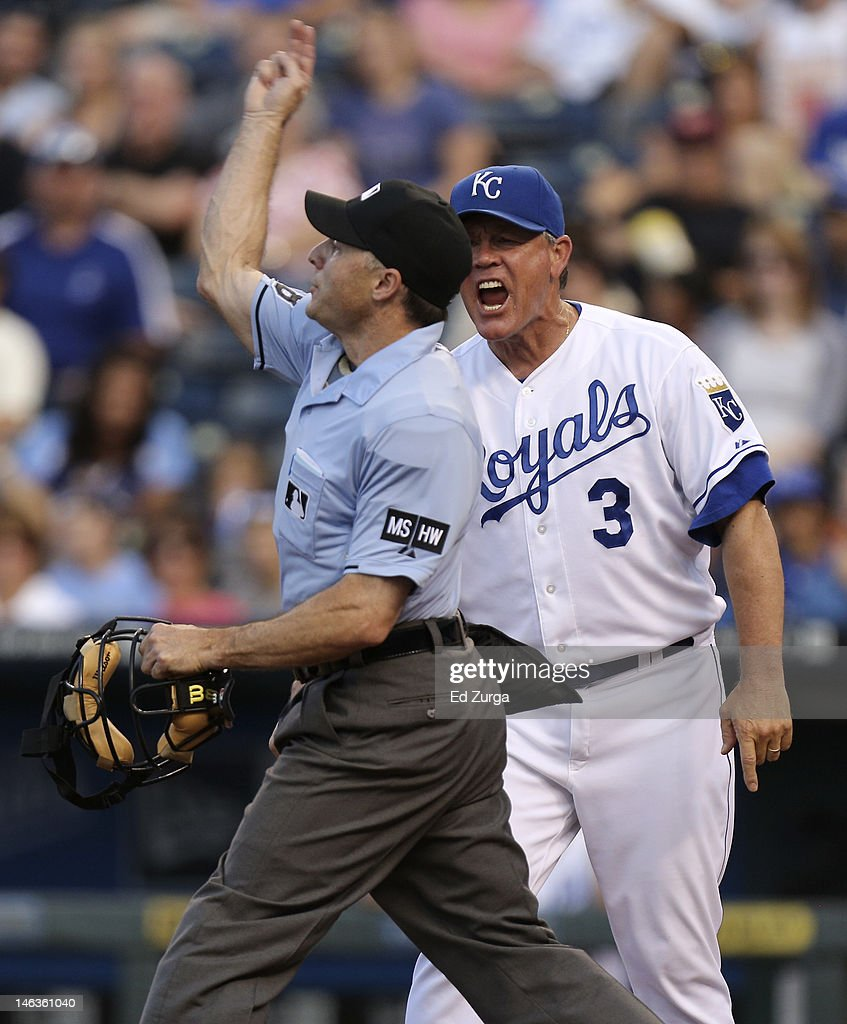 Ned Yost #3 manager of the Kansas City Royals is ejected from the game by plate umpire Dan lassogna during an interleague game against the Milwaukee Brewers in the fourth inning at Kauffman Stadium on June 14, 2012 in Kansas City, Missouri.