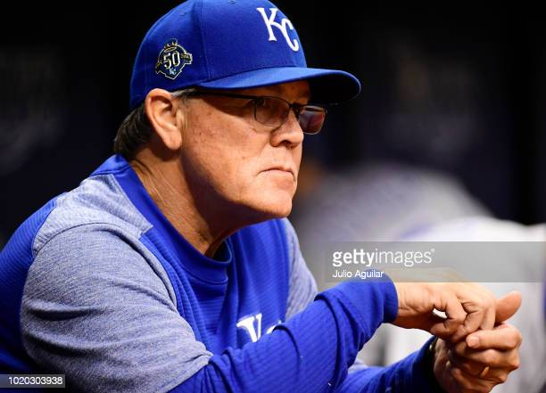 Ned Yost of the Kansas City Royals looks on during the fourth inning of a baseball game against the Tampa Bay Rays on August 20 2018 at Tropicana...