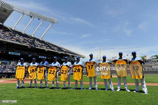 Ned Yost Rusty Kuntz Dale Sveum Don Wakamatsu Mike Jirschele Pedro Grifol Wade Davis Kelvin Herrera Eric Hosmer and Salvador Perez of the Kansas City...