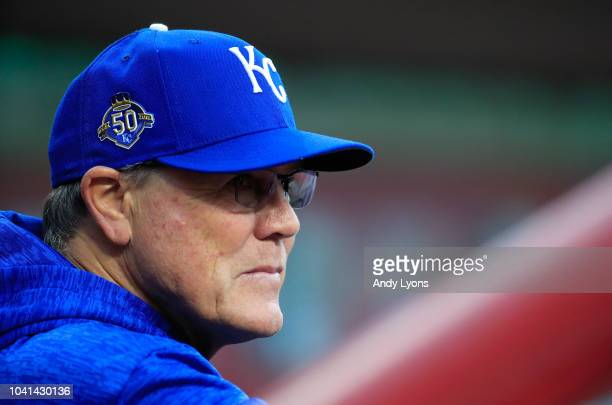 Ned Yost the manager of the Kansas City Royals watches the action against the Cincinnati Reds at Great American Ball Park on September 26 2018 in...