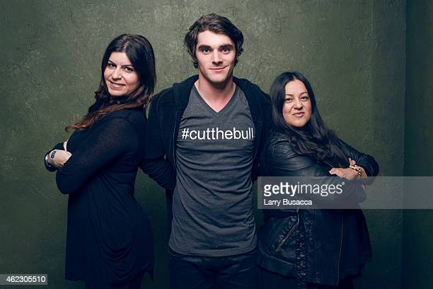 Nedda Soltani, actor RJ Mitte and producer Melinda Esquibel pose for a portrait at the Village at the Lift Presented by McDonald's McCafe during the...