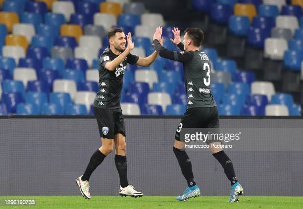 Nedim Bajrami of Empoli celebrates with teammate Aleksa Terzic after scoring their team's second goal during the Coppa Italia match between SSC...