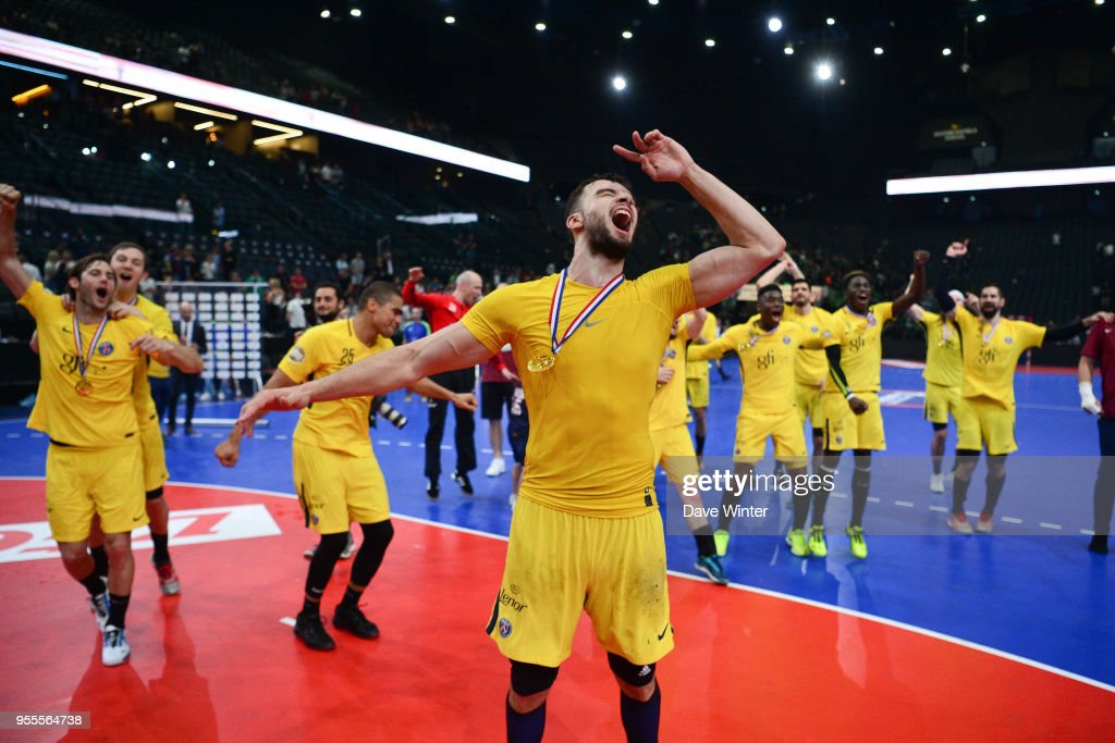 the latest 196c4 0d3ce Nedim Remili of PSG celebrates after his side wins the ...