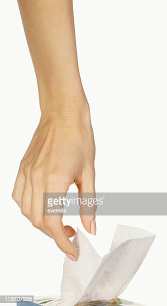 Vous avez besoin d'un mouchoir en papier découpé sur blanc