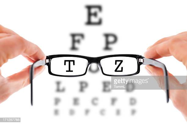 need glasses? - eye chart stock pictures, royalty-free photos & images