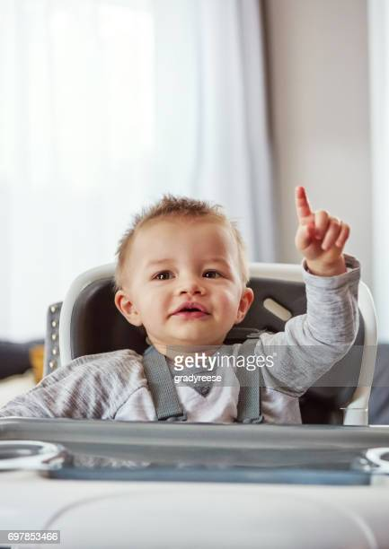 i need your attention! - baby pointing stock photos and pictures