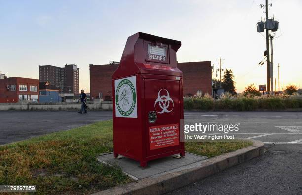 Needle disposal box at the Cabell-Huntington Health Department, sits in the front parking lot on October 3, 2019 in Huntington, WV. Huntington, West...