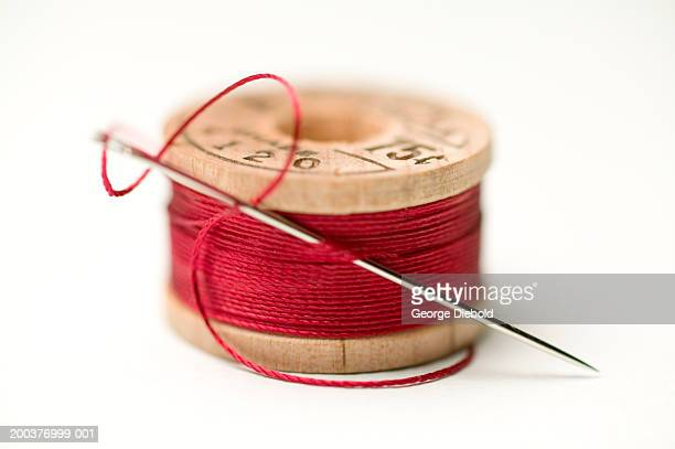 Needle in spool of thread, close-up