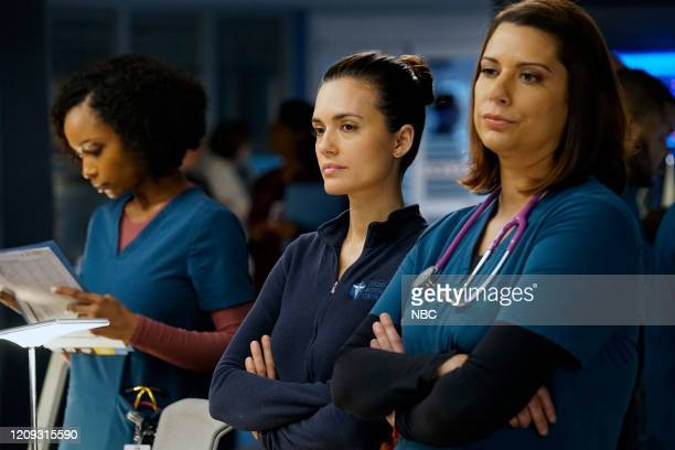 MED A Needle In The Heart Episode 520 Pictured Yaya DaCosta as April Sexton Torrey DeVitto as Natalie Manning Lorena Diaz as Doris