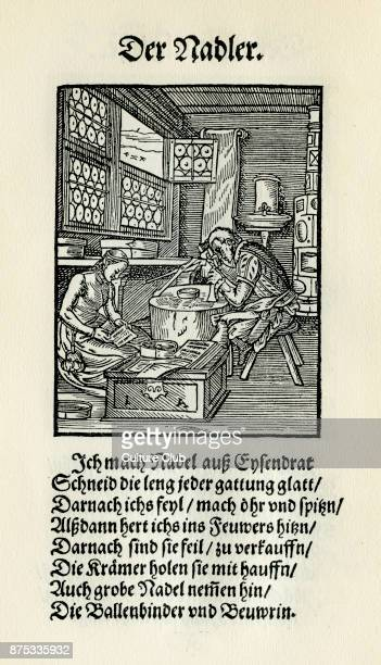 Needle maker from the Book of Trades / Das Standebuch Collection of woodcuts by Jost Amman 1568 with accompanying rhyme by Hans Sachs