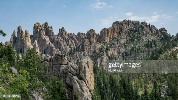 Needles Highway a National Scenic Byway and Needles Eye is seen along South Dakota Highway 87 in southwest South Dakota United States on July 9 2018...