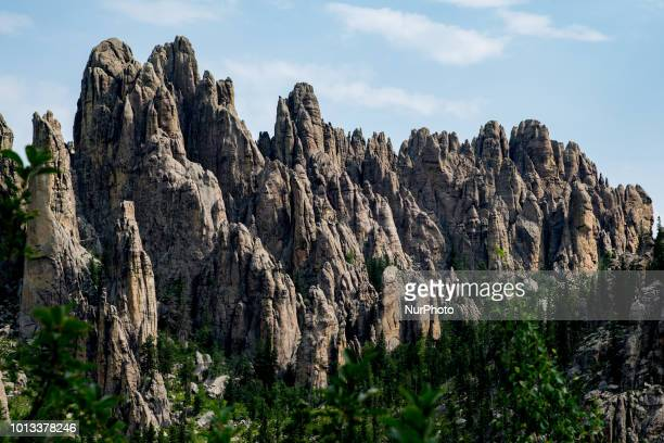 Needles Highway, a National Scenic Byway, and Needles Eye is seen along South Dakota Highway 87 in southwest, South Dakota, United States, on July 9,...