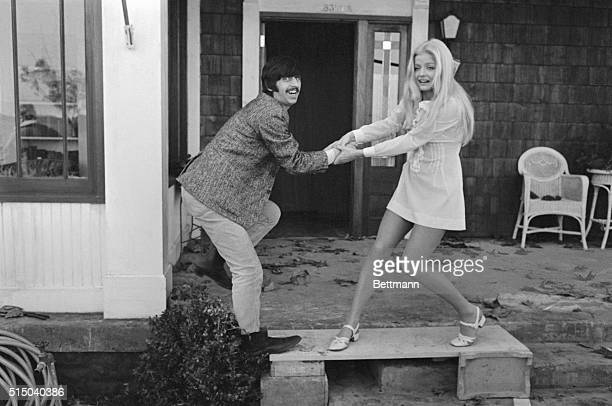 Needs armtwistingReluctant Beatle Ringo Starr is offered some encouragement from Ewa Aulin who plays the role of the amorous Candy during shooting of...