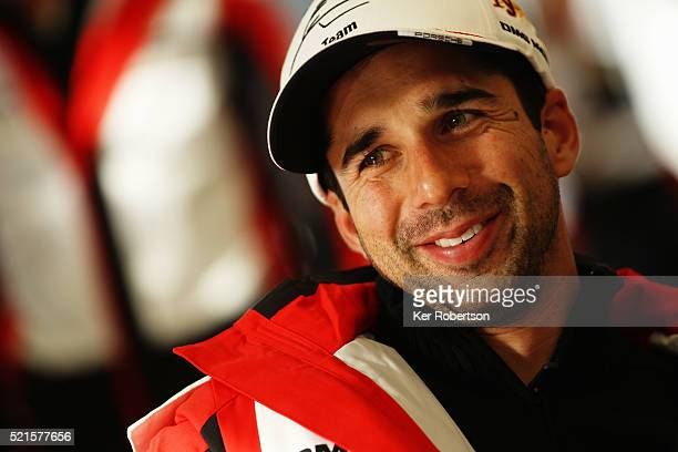 Neel Jani of Switzerland and Porsche Team 919 Hybrid talks to the media during previews the FIA World Endurance Championship Six Hours of Silverstone...