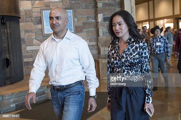 Neel Kashkari president and chief executive officer of the Federal Reserve Bank of Minneapolis left and his wife Christine Kashkari arrive for a...