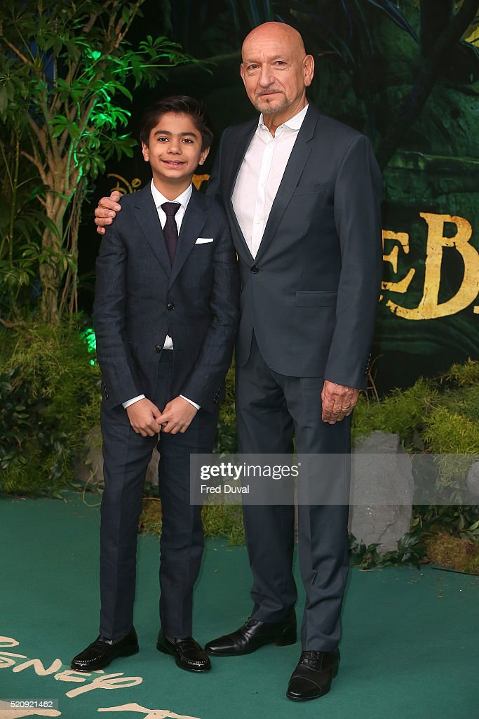 Neel Sethi and Ben Kingsley attend the UK Premiere of 'The Jungle Book'at BFI IMAX on April 13, 2016 in London, England.