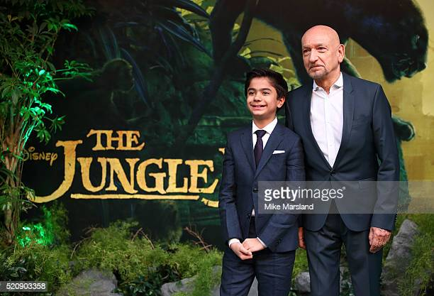 Neel Sethi and Sir Ben Kingsley arrive for the European premiere of The Jungle Book at BFI IMAX on April 13 2016 in London England