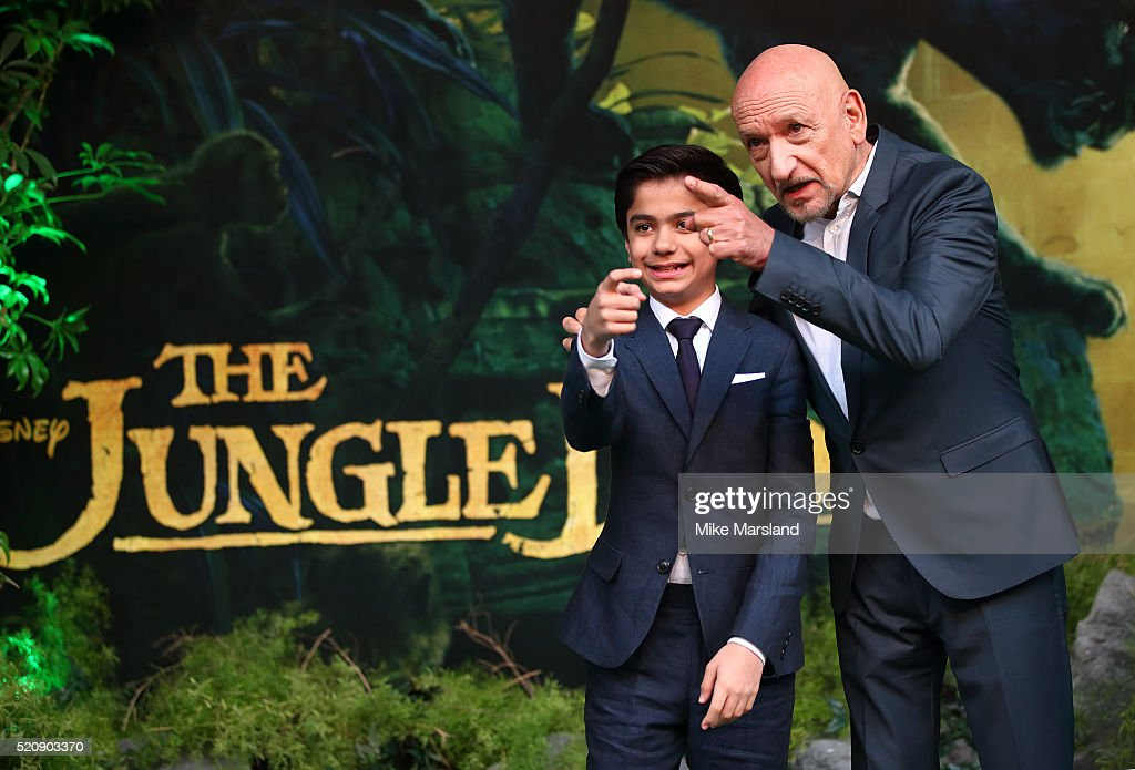 Neel Sethi and Sir Ben Kingsley arrive for the European premiere of 'The Jungle Book' at BFI IMAX on April 13, 2016 in London, England.