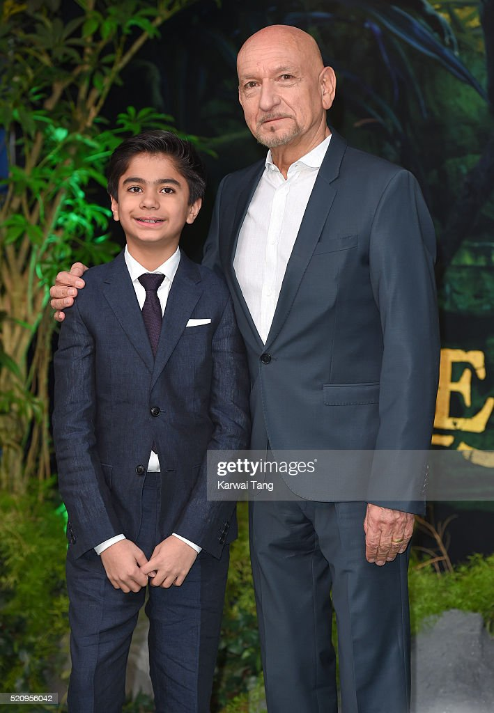 Neel Sethi and Sir Sir Ben Kingsley arrive for the European premiere of 'The Jungle Book' at BFI IMAX on April 13, 2016 in London, England.
