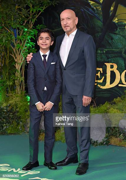 Neel Sethi and Sir Sir Ben Kingsley arrive for the European premiere of 'The Jungle Book' at BFI IMAX on April 13 2016 in London England