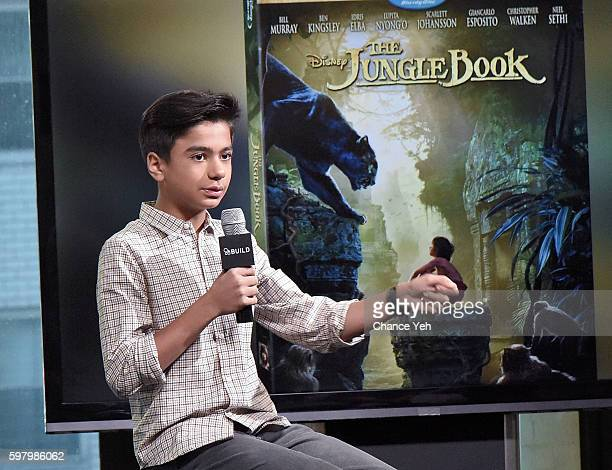 Neel Sethi attends AOL Build to discuss his starring role as Mowgli in Jon Favreau's retelling of The Jungle Book at AOL HQ on August 30 2016 in New...