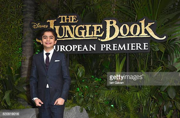 Neel Sethi attends the European Premiere of The Jungle Book at BFI IMAX on April 13 2016 in London England