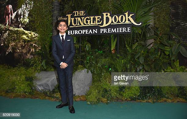 Neel Sethi attends the European Premiere of 'The Jungle Book' at BFI IMAX on April 13 2016 in London England