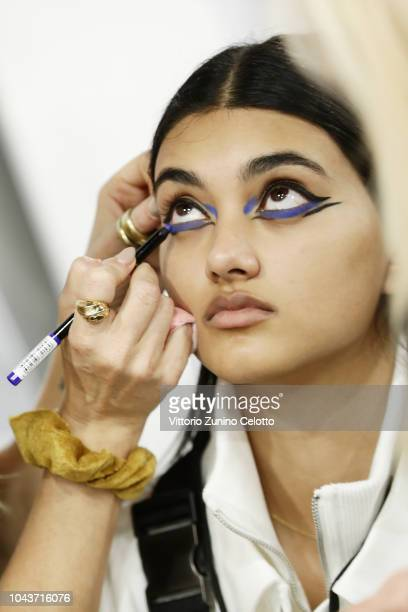 Neelam Gil prepares backstage during Le Defile L'Oreal Paris as part of Paris Fashion Week Womenswear Spring/Summer 2019 on September 30 2018 in...