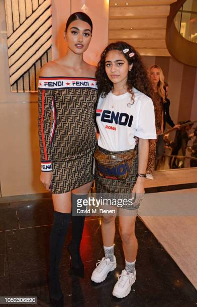 Neelam Gill and Deba aka d3b4 attend the FENDI MANIA Collection Launch on October 16 2018 in London England