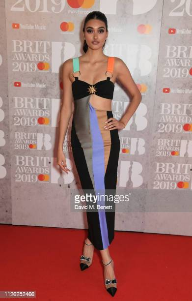 Neelam Gill arrives at The BRIT Awards 2019 held at The O2 Arena on February 20 2019 in London England