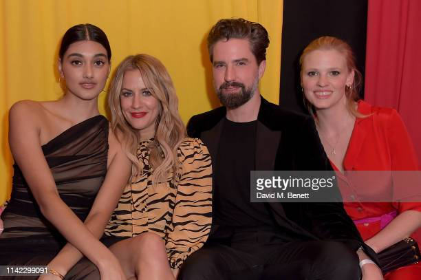 Neelam Gill Caroline Flack Jack Guinness and Lara Stone attend The Ivy Spinningfields Manchester Super Party on April 12 2019 in Manchester England