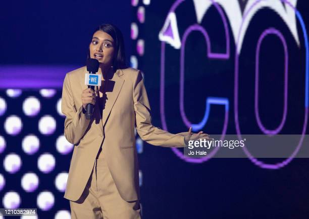 Neelam Gill speaks on stage at WE Day UK 2020 at The SSE Arena Wembley on March 04 2020 in London England
