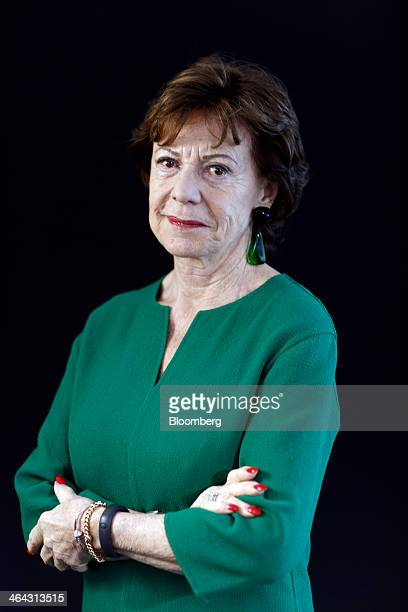 Neelie Kroes competition commissioner for the European Union poses for a photograph following a Bloomberg Television interview on the opening day of...