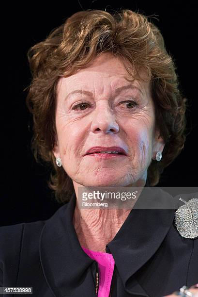 Neelie Kroes member of the European Commission in charge of the development of online markets speaks during a panel session at the Disrupt Europe...