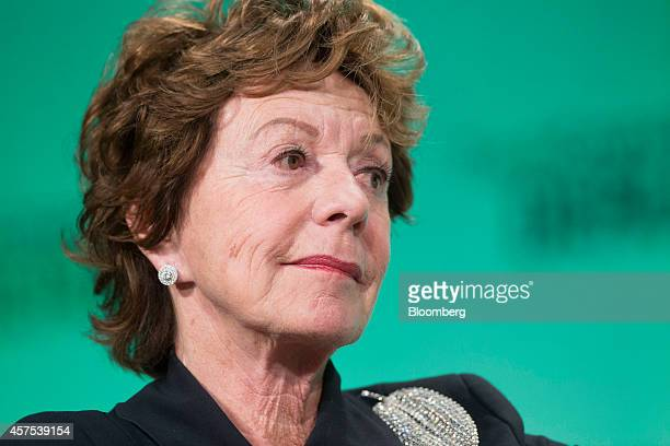 Neelie Kroes member of the European Commission in charge of the development of online markets pauses during a panel session at the Disrupt Europe...