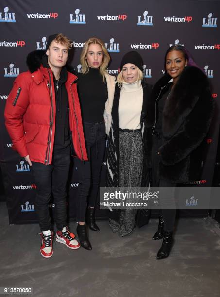 Neels Visser Meredith Mickelson Skylar Grey and Justine Skye attend the Verizon Up Member's Lounge at Super Bowl LIVE presented by Verizon on...