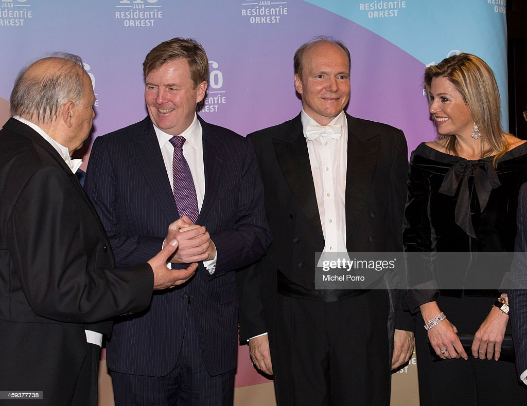 Neeme Jarvi, King Willem-Alexander of The Netherlands, Trols Mork and Queen Maxima of The Netherlands attend the Residentie Orkest (Orchestra) 110th Anniversary on November 21, 2014 in The Hague, The Netherlands.