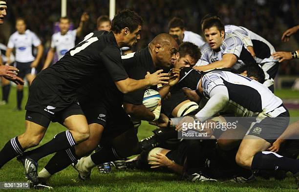 Neemia Tialata and Dan Carter of the All Blacks in action during the match between Scotland and New Zealand at Murrayfield on November 08, 2008 in...