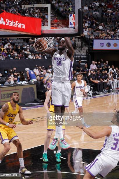 Neemias Queta of the Sacramento Kings dunks the ball against the Los Angeles Lakers during the 2021 California Classic Summer League on August 4,...